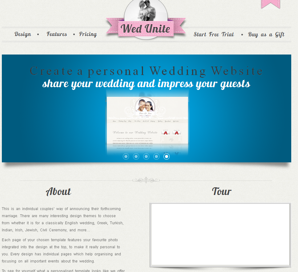 personal wedding website screenshot 2
