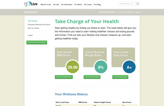 fit2live – interactive wordpress graphing project screenshot 1