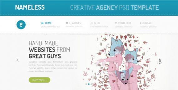 nameless – creative agency psd template screenshot 1