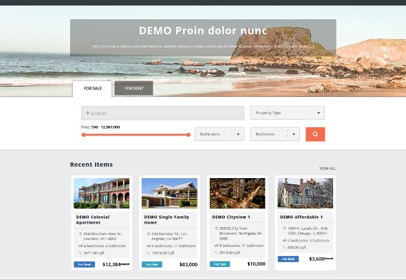 Sale Rent Widget with Real Estate theme on the Home page