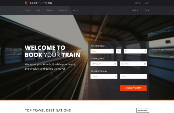 book your train – online booking psd template screenshot 1