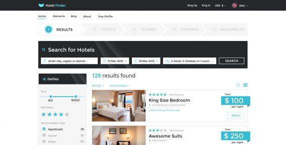 hotel finder – online booking psd template screenshot 19