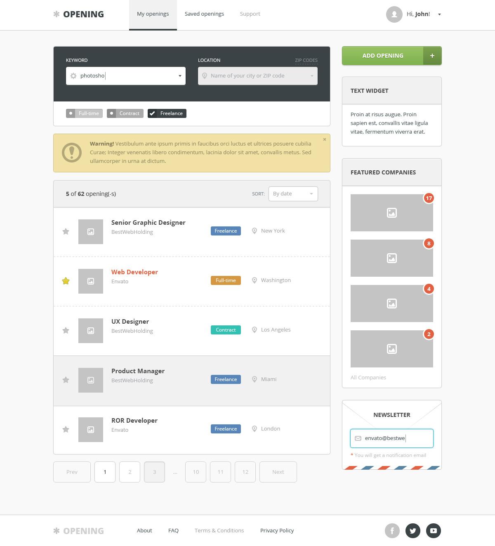 opening – job board wordpress theme screenshot 4