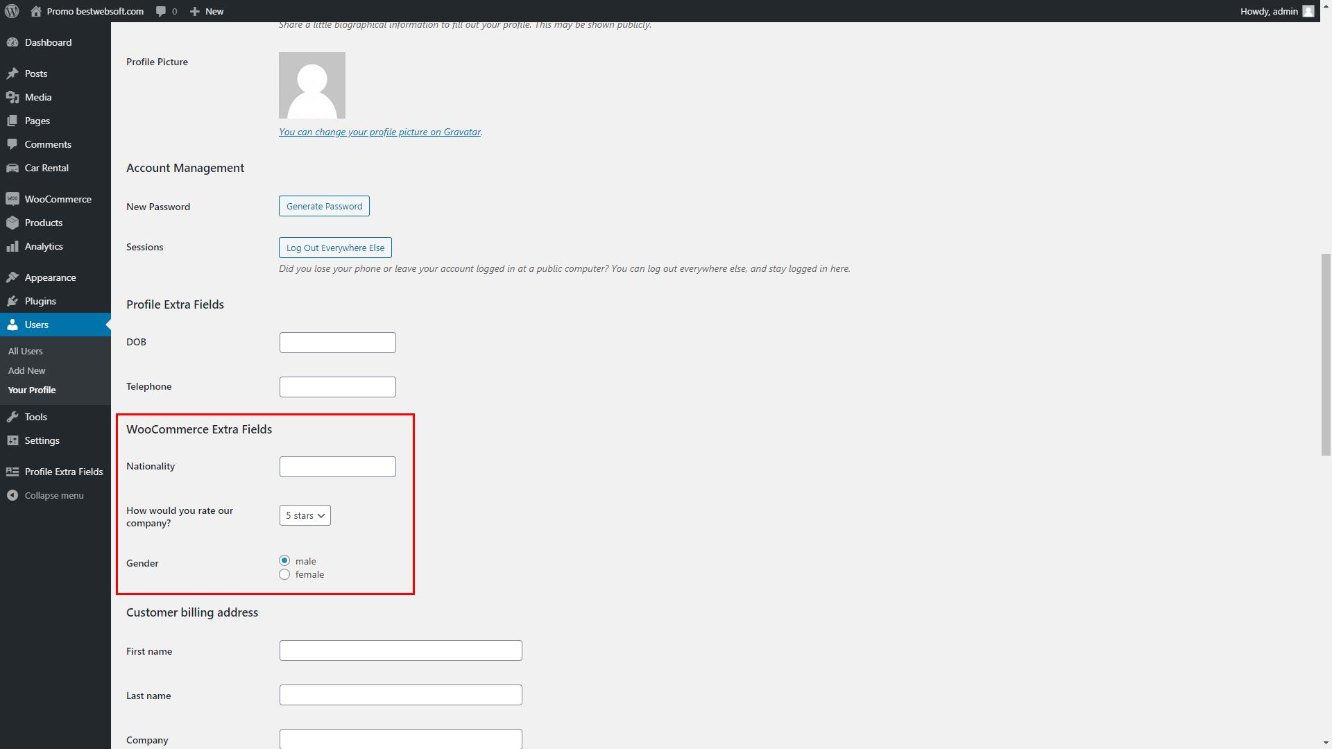 profile extra fields screenshot 16