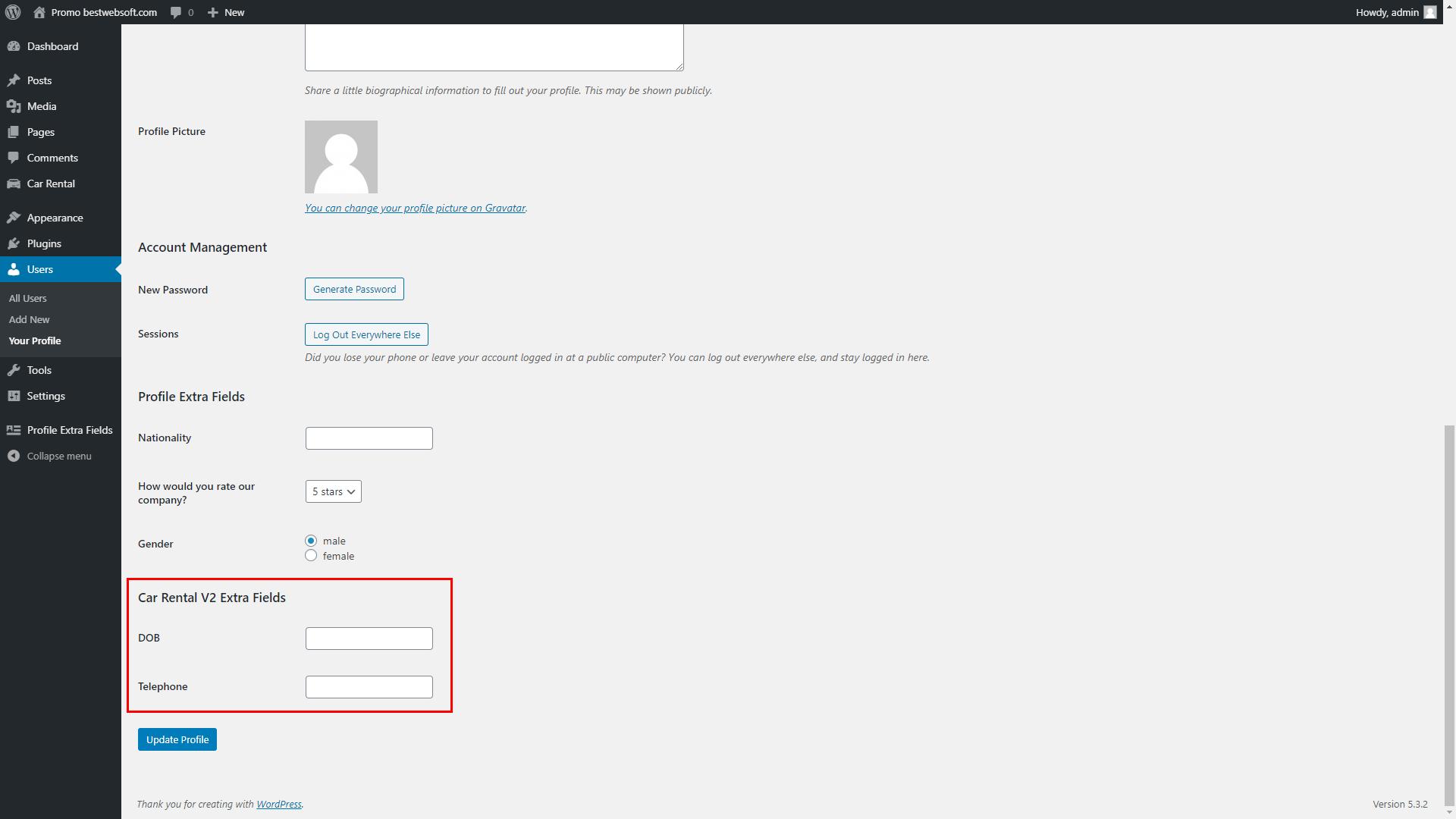 profile extra fields screenshot 19