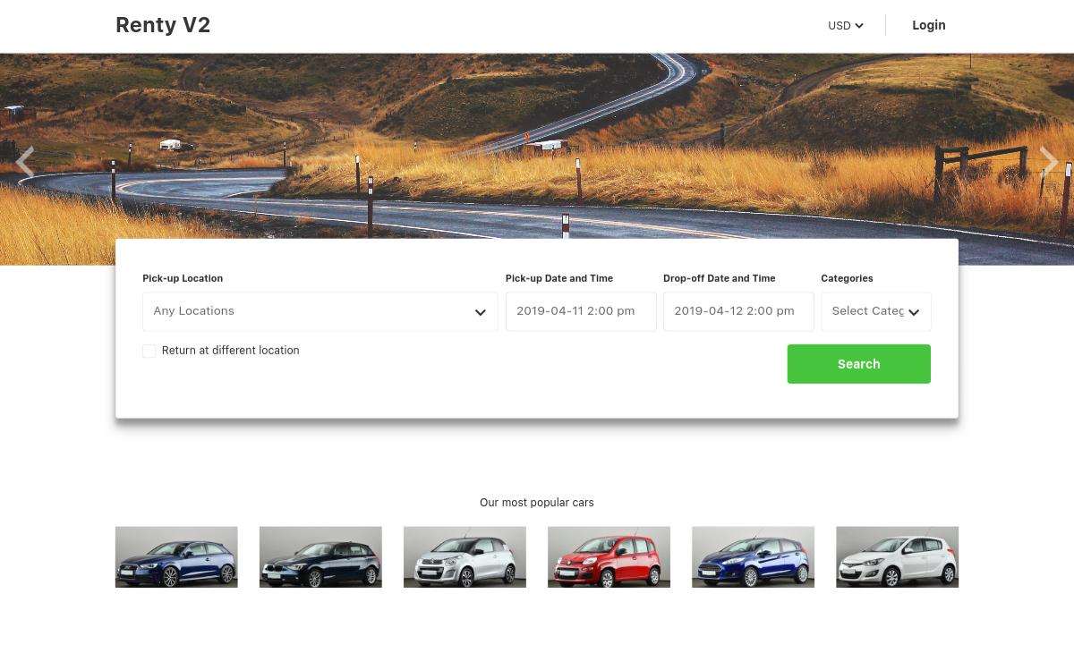 renty v2 – car rental & booking wordpress theme screenshot 1
