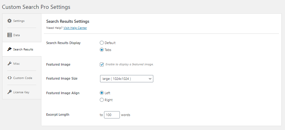 custom search settings