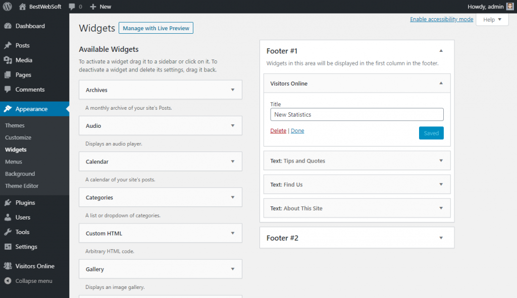 visitors online widget