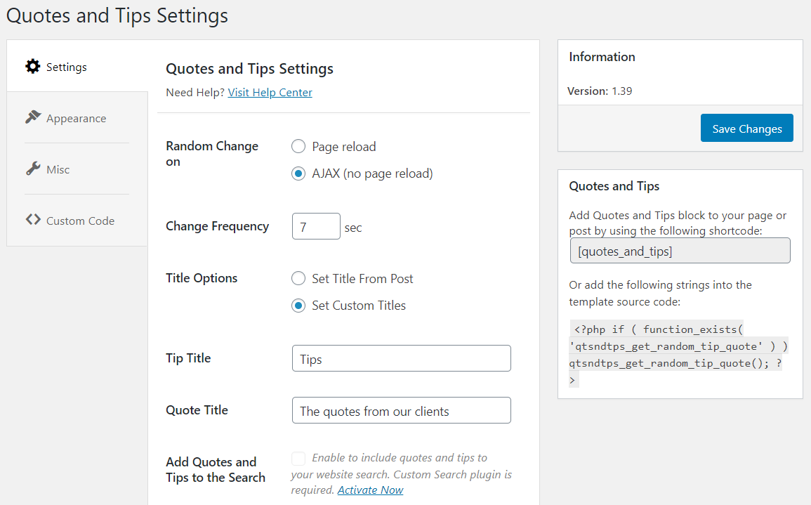 quotes and tips settings
