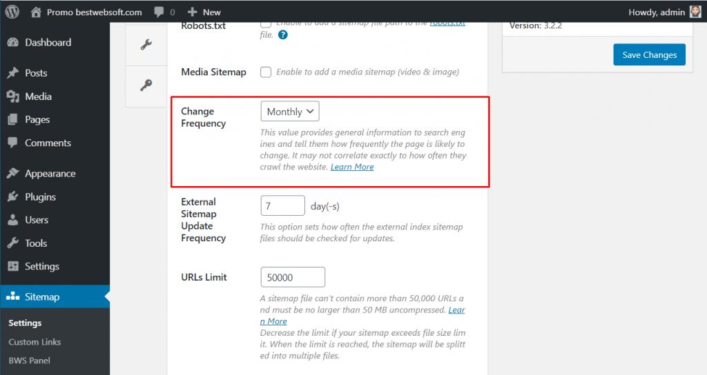 sitemap settings demo change