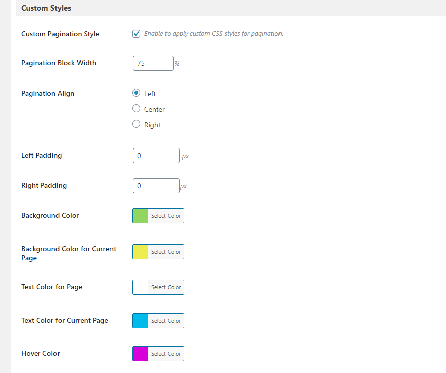 pagination custom styles