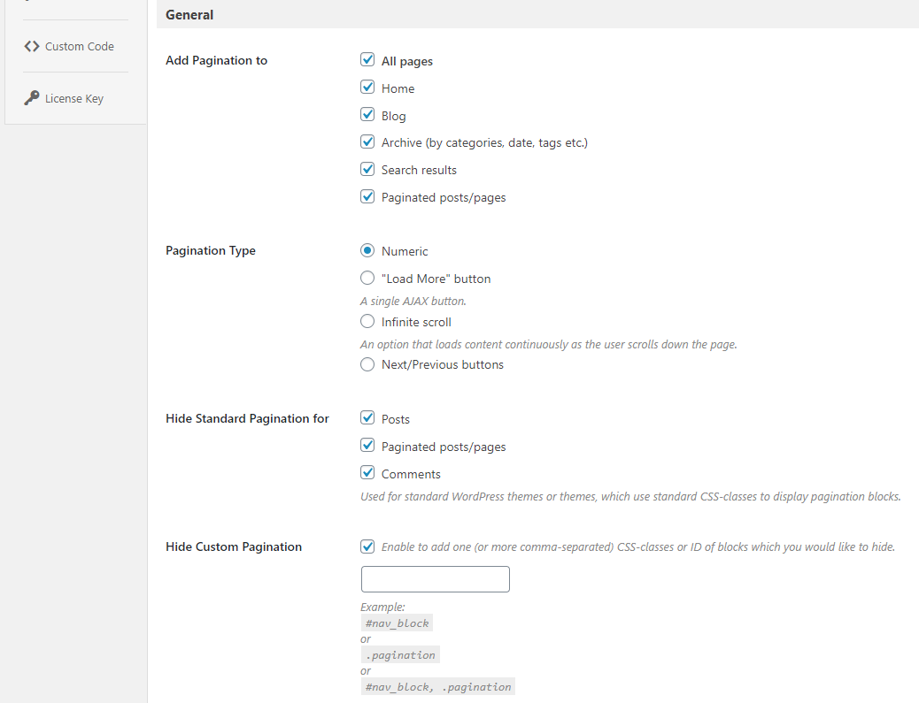 pagination settings