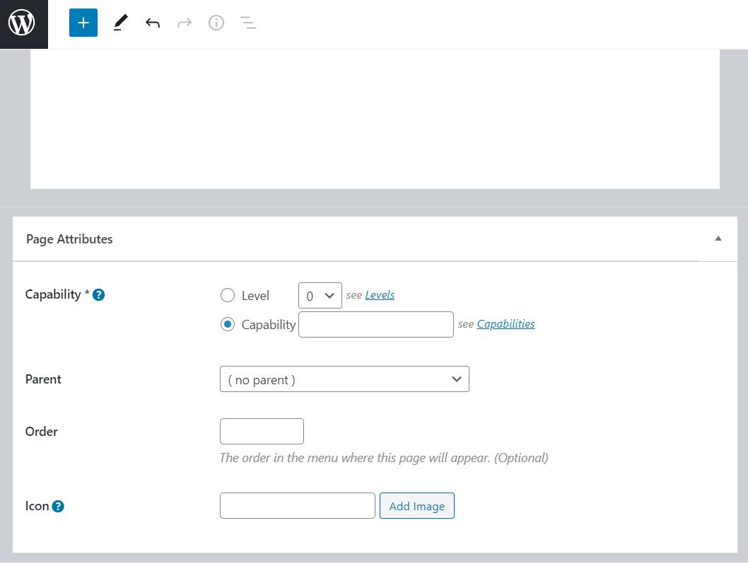 cutom admin page settings