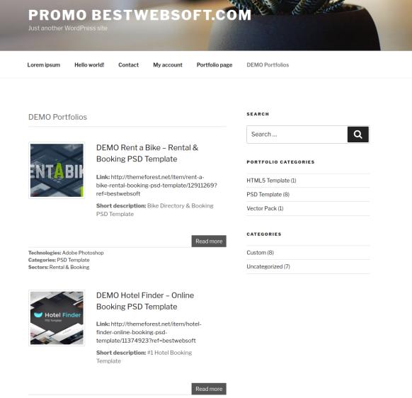 demo portfolio page